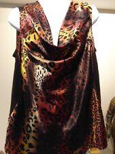Bianca Nygard Women's Animal print sleeveless cowl neck top petite 14