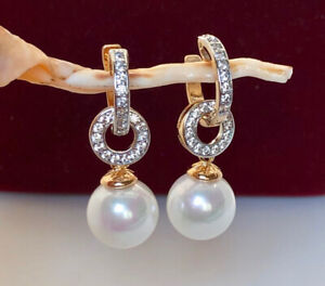 Luxus Ohrringe Perlen Creolen mit Swarovski® Zirkonia 750er Gold 18K vergoldet