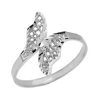 Fine 10k White Gold Diamond Cut Filigree Unique Butterfly Wrap Ring
