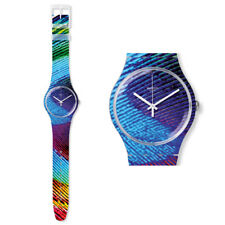 Swatch New Gent Peacobello Watch SUOK113 Analogue Silicone Colourful