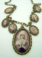 "Womens Praying Virgin Mary Madonna Miraculous Medal Necklace 20"" Antique Style"
