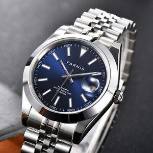 PARNIS Polished Auto Men Watch Blue Date Sapphire Crystal Jubilee Bracelet