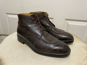 Tod's Brown Leather Split Toe Lace Up Ankle Boots Men's Size 9.5 US 10.5