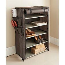 5 Shelves 4 Side Pockets Easy Assembly Canvas Storage Unit Bedroom Use