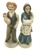 Vintage Ceramic Porcelain Set  Old  Man& Woman's  with chicken & Duck Figurines