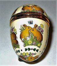 Halcyon Days Enamel Box - Vintage Easter Bunny Egg - Rabbits & Flowers - Mib