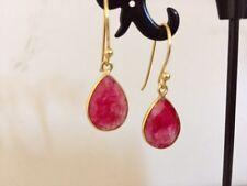 18K Gold Sterling Silver Ruby Red Teardrop Dangle Earrings Gemstones Tear Drop