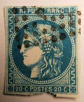 """Emis.de Bordeaux- N° 45 type II Rep 3 (TB-1117-1) Oblit  Bur. de Paris """"P"""" DEF"""