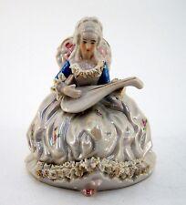 Porzellanfigur Rokoko Figurengruppe Musikantin mit Klampfe Höhe ca. 14 cm
