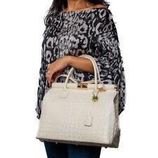Italian beige crocodile embossed calf leather satchel handbag, BIRKIN TYPE