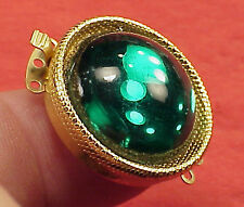 Vintage 26mm Necklace Clasp Connector 3 Str Emerald Cabachon High Art Deco