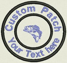 "Fishing 3.5"" Circle Patch Personalize with text or Name - Iron On, or Sew On"