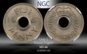 1967 FIJI PENNY NGC MS 66 ONLY 2 GRADED HIGHER
