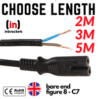 Figure 8 Power Cord C7 Figure 8 Fig of 8 Lead to Bare End Cable Black TV CONSOLE