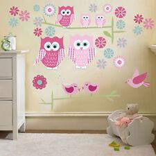 Childrens Cute Owls Twit Twoo Wall Stickers Decals Nursery Girls Room Kids