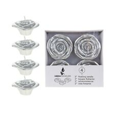 "Mega Candles - Unscented 3"" Floating Flower Candles - Silver, Set of 4"