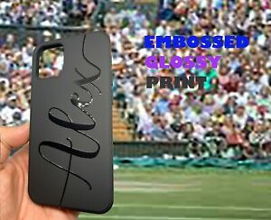 Embossed Glossy Personalised black silicone phone case