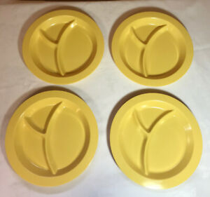 """4 Pottery Barn Kids 10.5"""" Yellow Plates Divided Snack Plates Dinner Plate Child"""