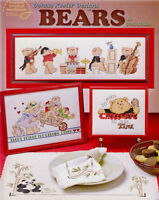 BEARS Cross Stitch Patterns Paperback Crafts Book NEW Teddy Panda Music -English