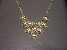 FINE WOMENS 14 KARAT TWO TONE GOLD NECKLACE PENDANT FLORAL NEW WOW