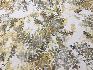 Giverny Camille Ochre/Grey Panama Cotton Fibre Naturelle  Curtain/Craft Fabric