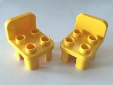 *NEW* 2 Pcs Lego DUPLO Furniture YELLOW CHAIR with 4 STUDS Curved Back and Feet