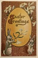 Cute Bunny Rabbits with Big Egg & Lily Flowers~Antique  Easter Postcard-p387