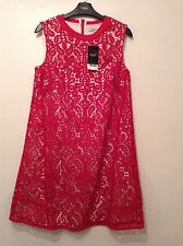 """New With Tags 🌹Next🌹Size 10 Hot Deep Pink Lace Day Holiday Dress Length 35.5"""""""