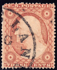 #26A - 3 Cents 1857, 64R10e, Dull Rose Claret, Cleveland, Ohio AUG-dated ccl.