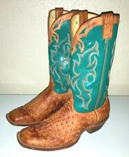 Nocona Ostrich Leather Cowboy Boots Mens Size 12 Turquoise/Brown