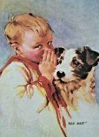 Unused Vintage Keep in Touch Greeting CARD Boy Puppy Dog Whisper Secret NOS