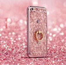 For iPhone X 8 7 6 Samsung S9 Bling 3D Diamond Flower TPU Case Ring Holder Cover