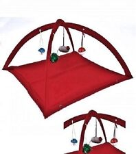 """Fleece Cat Play Tent RED W/Dangle Toys Interactive Kitty Pet Gift 22"""" x23"""" x13"""""""