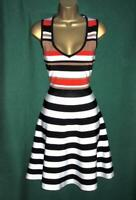 KAREN MILLEN Uk 10+ (Small) STRIPED BANDAGE Fit & Flare Black Red Dress KA037