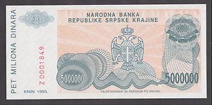CROATIA  Krajina 5000000 Dinara 1993 UNC  PR24   REPLACEMENT   Serial prefix  Z