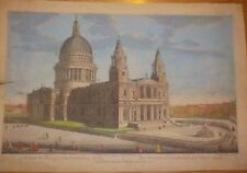 1794 Lithpgraph Aquatint Print St Paul's Cathedral London Laurie & Whittle