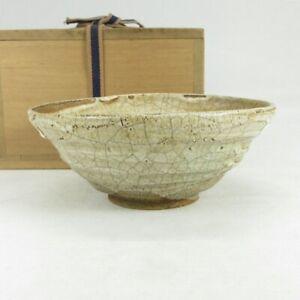 A169: Japanese old HAGI pottery tea bowl w/good glaze and wonderful atmosphere