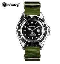 INFANTRY Men's Stainless Steel Case Green Nylon Wrist Watch