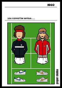 Mcenroe borg A3 Art Print - Football Casual Poster tennis fila tacchini original