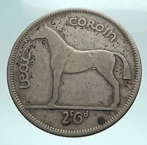 1939 IRELAND Silver with HORSE and LYRE HARP Vintage Genuine IRISH Coin i82494