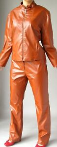 RUST BROWN COLORED  LEATHER SUIT -  JACKET  and PANTS - SELENE SPORTS  size 12