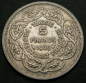 TUNISIA 5 Francs AH1358/1939(a) - Silver - VF - 1021