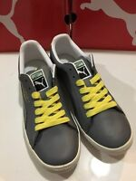 PUMA Clyde Grey Leather  Blazing Yellow Men's Shoe Size 10