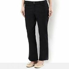 Cotton Blend Straight Leg Petite Mid Trousers for Women