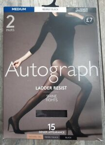 Marks and Spencer Ladies Autograph Ladder Resist Shine Tights Size Medium