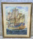 Kalmar Nyckel Oil Pastel Original Painting by Dorothy Garthwaite Framed