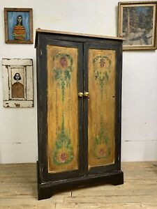 Vintage Painted Pine Black And Gold Wardrobe/ Cupboard With Distressed Paint