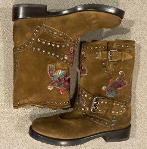 Frye Nat Engineer Flower Boots Wheat Brown Women's Size 6 B 3475700-WHE