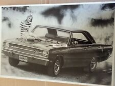 """12 By 18"""" Black & White PICTURE of 1969 Dodge Swinger with Model"""