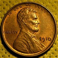 Uncirculated 1910 Lincoln Wheat Cent with some red color remaining!